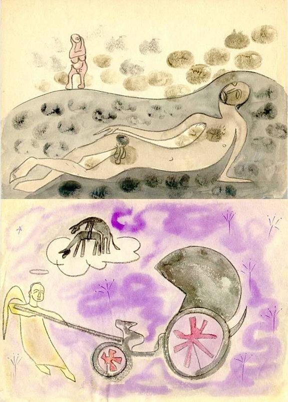 Рисунки из серии Параджанова «Исповедь»: «Томление» (вверху) и «Детство» (внизу) / Фото: Завен Саркисян
