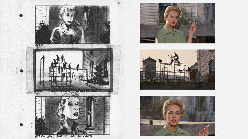 Слева — раскадровка «Птиц», справа — кадры из фильма
