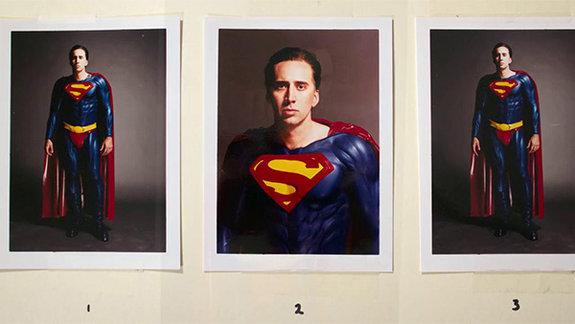 Николас Кейдж на первой кинопробе к фильму «Супермен жив», Warner Bros.