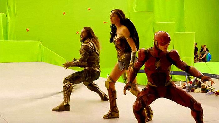 На съемках «Лиги справедливости»