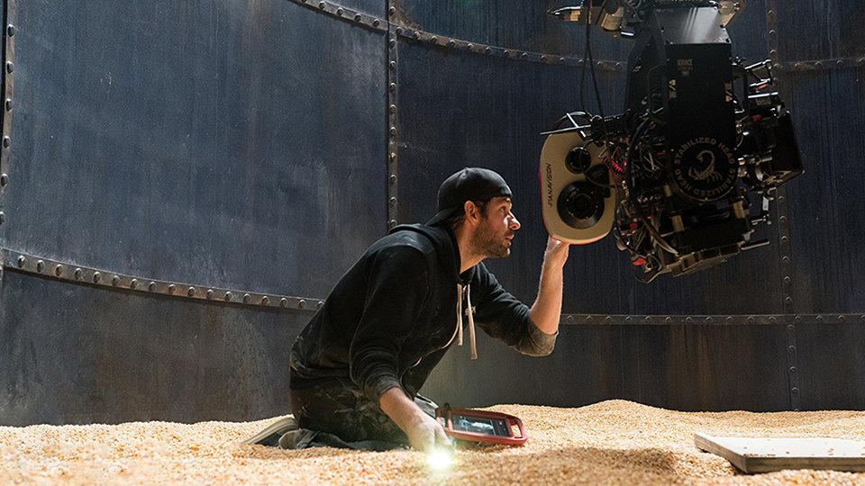 Джон Красински на съемках фильма «Тихое место»