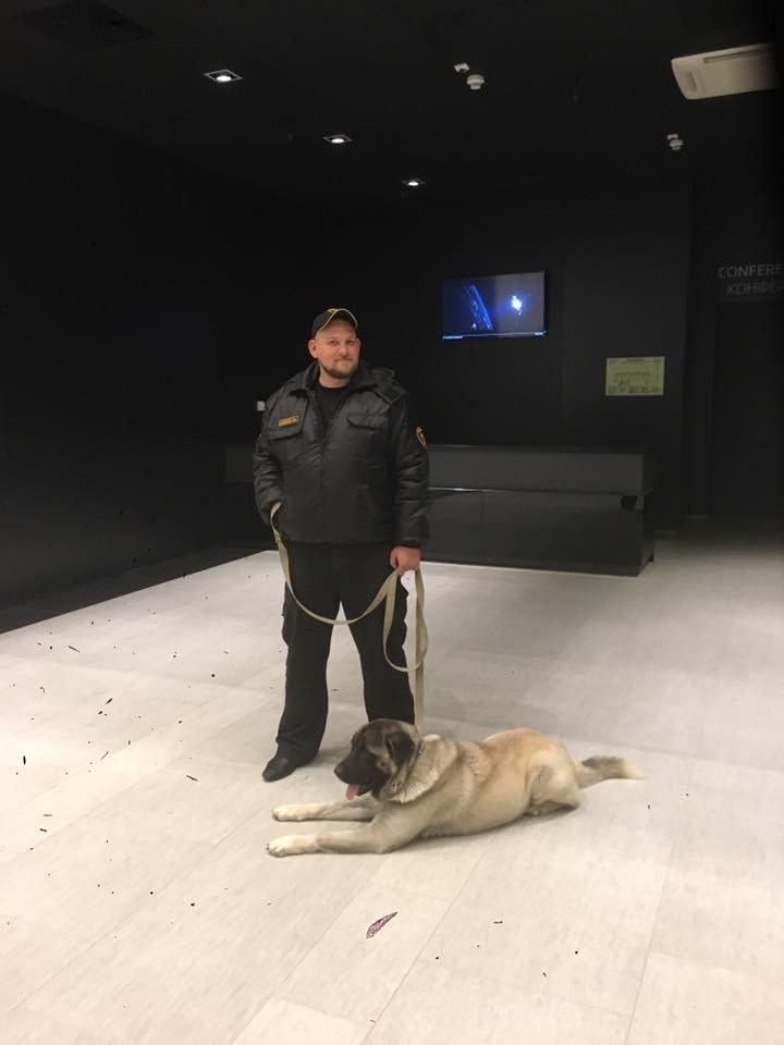 Сотрудник полиции с собакой перед показом / Фото: Facebook журналиста Ксении Болецкой