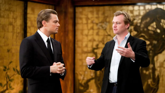 Кристофер Нолан и Леонардо ДиКаприо на съемках фильма «Начало»