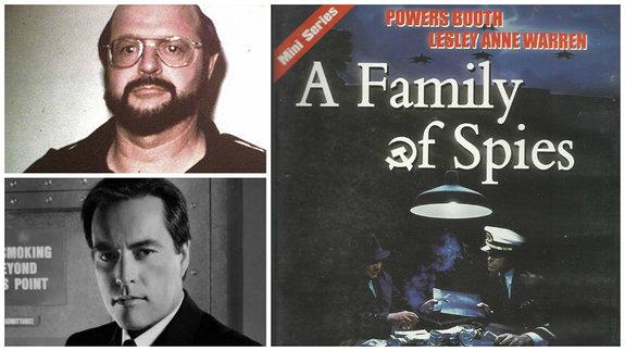 Джон Энтони Уокер, его экранное воплощение Пауэрс Бут и постер телефильма «Семья шпионов»