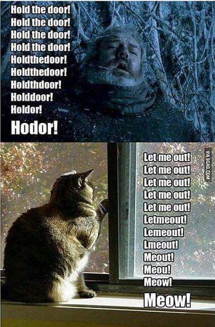 —Держи дверь! Ходор! —Выпустите меня! Мяу!