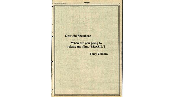 Объявление, которое разместил в прессе Терри Гиллиам, чтобы отстоять «Бразилию»