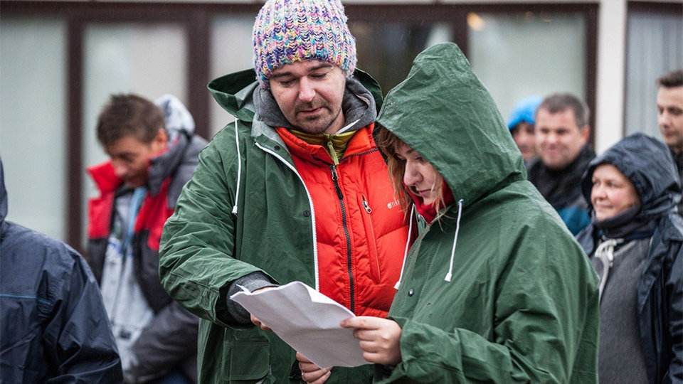 Борис Хлебников на съемках фильма «Аритмия»