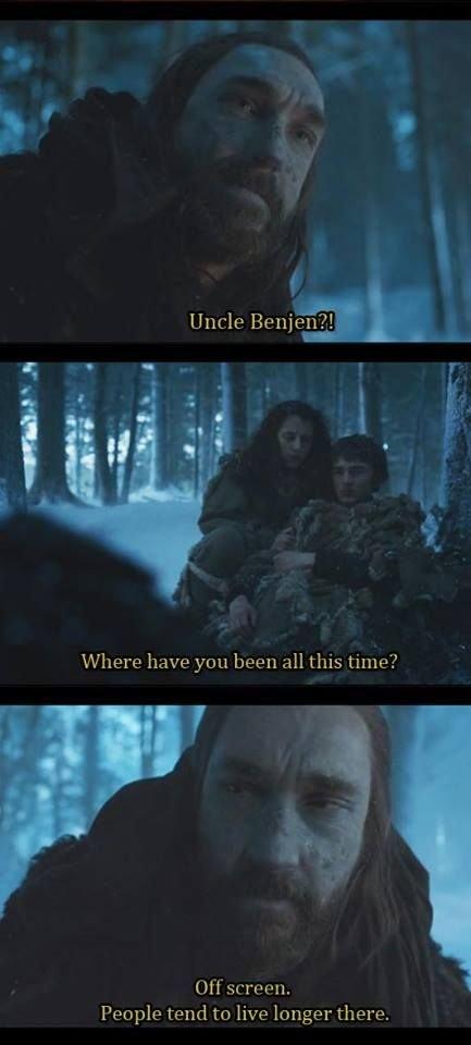 - Дядя Бенджен? Где ты пропадал все это время? - За кадром. Там живут подольше.