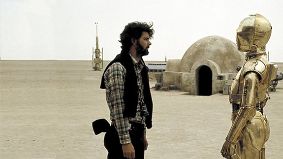 Джордж Лукас на съемочной площадке четвертого эпизода «Звездных войн»
