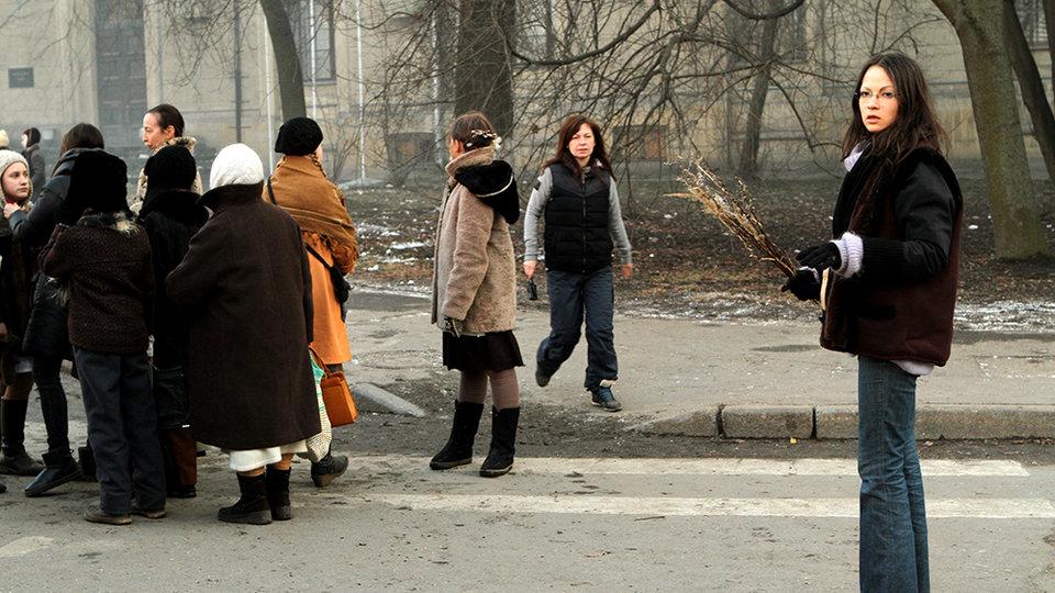 Елена Окопная на съемках фильма «Довлатов»