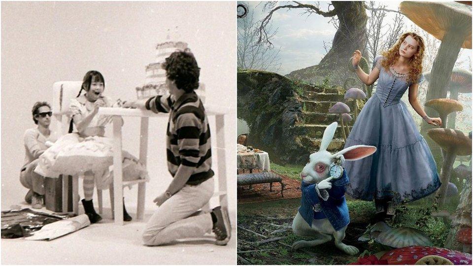На съемках фильма «Гензель и Гретель» / «Алиса в стране чудес»