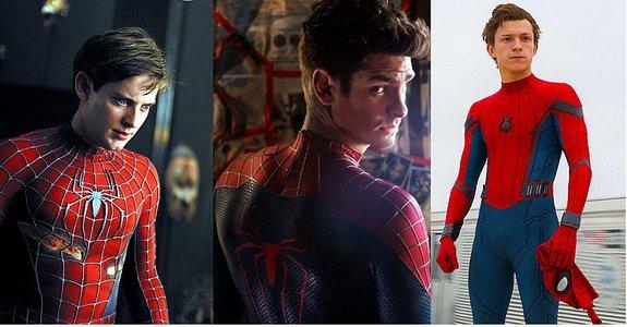 Исполнители роли Человека-паука в кино: Тоби Магуайр, Эндрю Гарфилд и Том Холланд