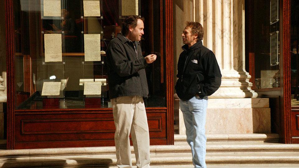 Джон Тёртелтауб и Джерри Брукхаймер на съемках фильма «Сокровище нации»