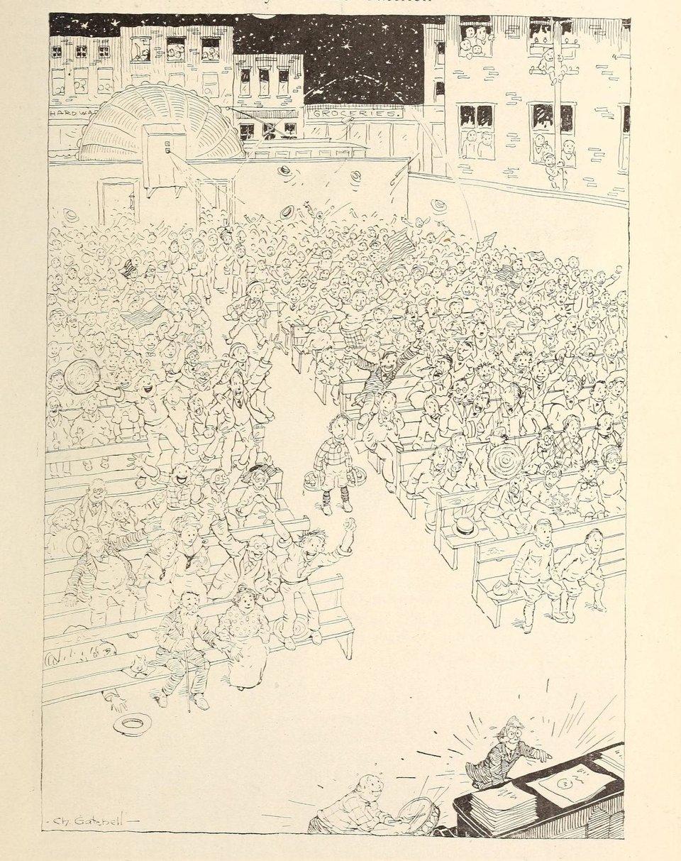 Трудоспособные американцы, которые остались дома, аплодируют фильму о тех, кто ушел на фронт (карикатура из журнала «Picture-play magazine», октябрь 1917 года)