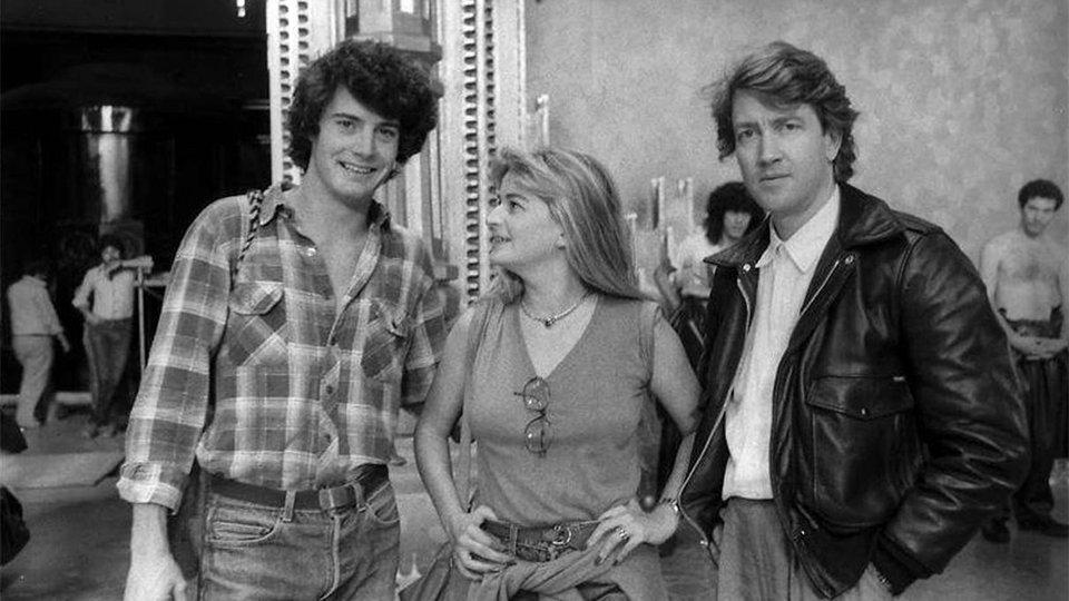 Кайл МакЛоклен, Раффаэлла Де Лаурентис (продюсер фильма) и Дэвид Линч на съемках фильма «Дюна»