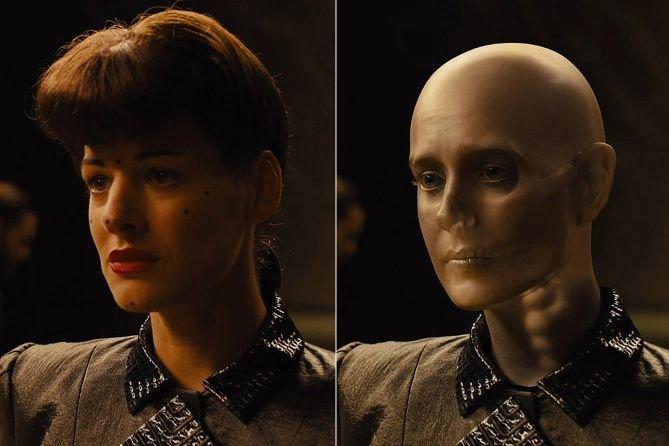 Слева — Лорен Пита на съемках. Справа — ее тело с компьютерным черепом Шон Янг.