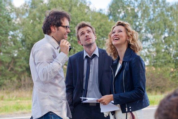 Петр Тодоровский, Вильма Кутавичюте и Александр Петров на съемках «Лавстори»