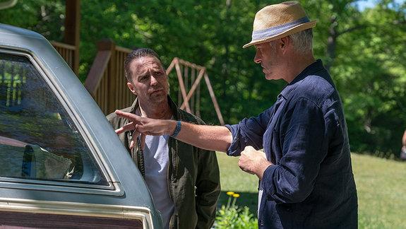 На съемках фильма «Три билборда на границе Эббинга, Миссури»