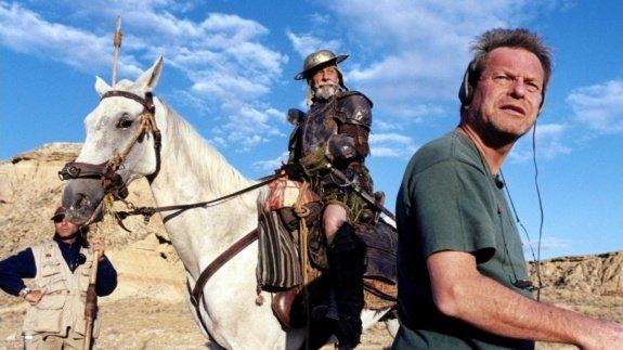 Жан Рошфор и Терри Гиллиам на съемках фильма «Человека, который убил Дон Кихота»