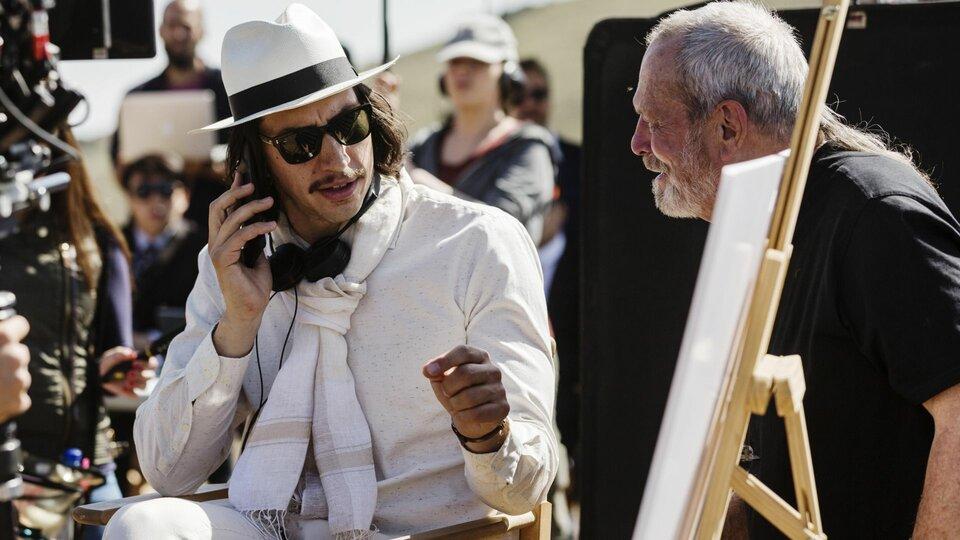 Адам Драйвер и Терри Гиллиам на съемках фильма «Человек, который убил Дон Кихота»