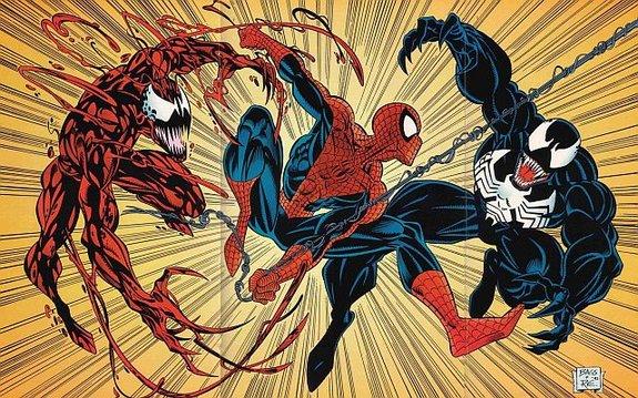 Человек-паук против Карнажа и Венома / Иллюстрация: Марк Бейгли