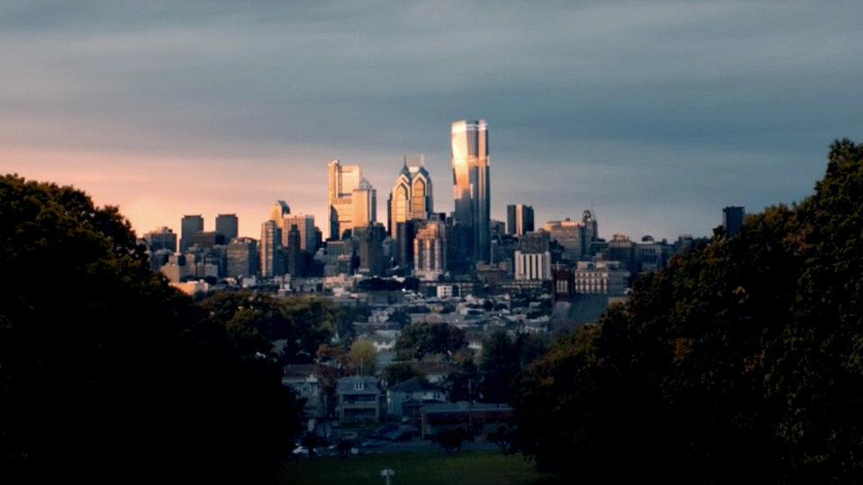 Вид на центр Филадельфии в «Стекле»