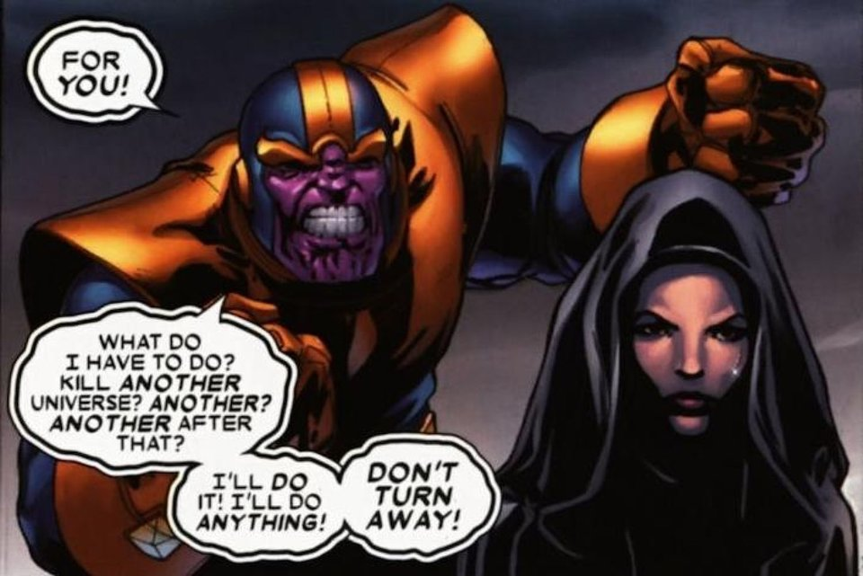 Ради Смерти Танос готов уничтожать вселенные / Иллюстрация: Marvel Comics
