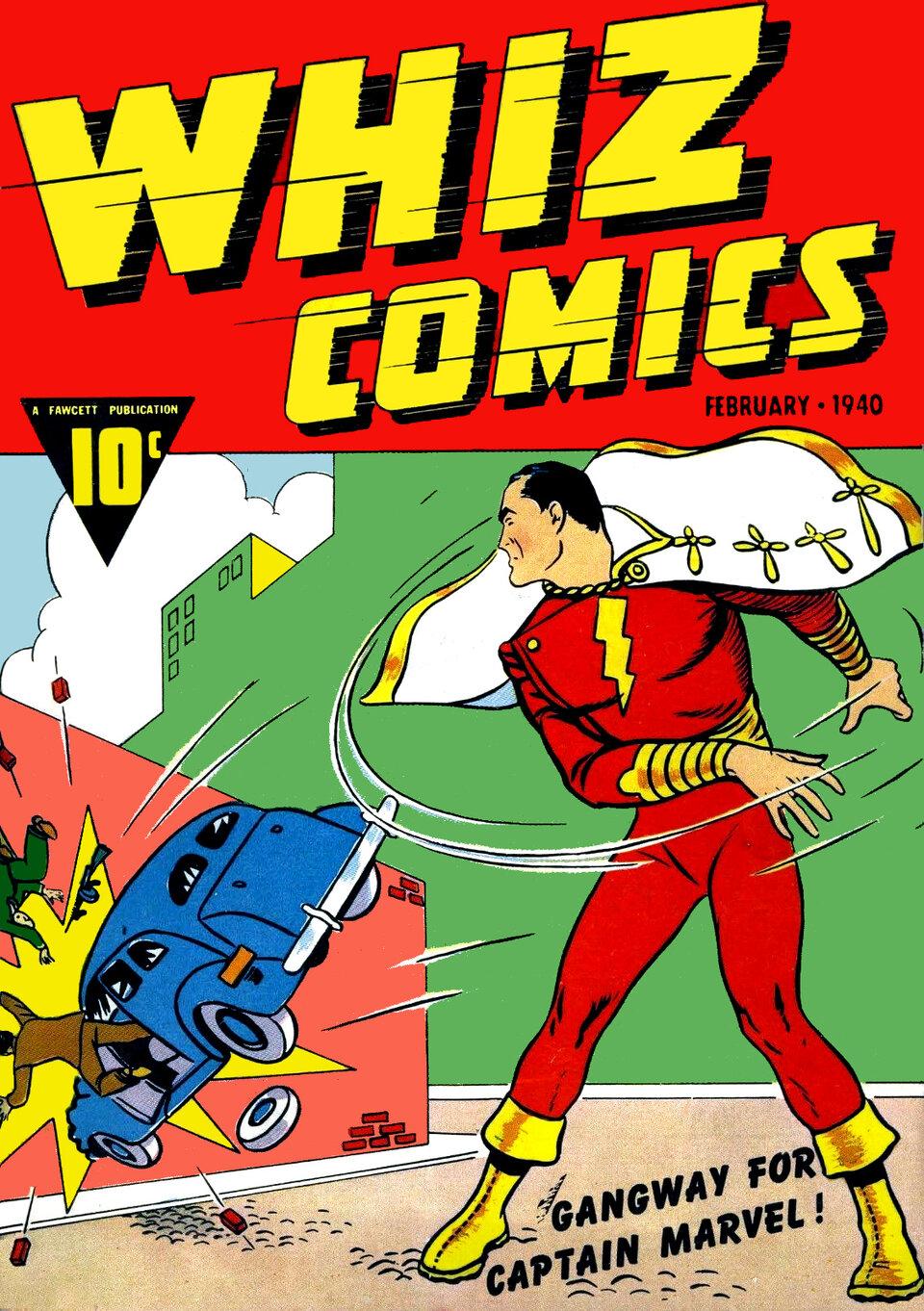 Обложка комикса, в котором впервые появляется Капитан Марвел.