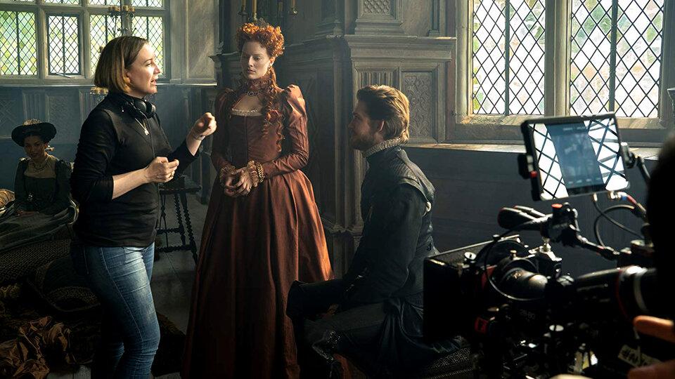 Джози Рурк, Марго Робби и Джо Элвин на съемках фильма «Две королевы»