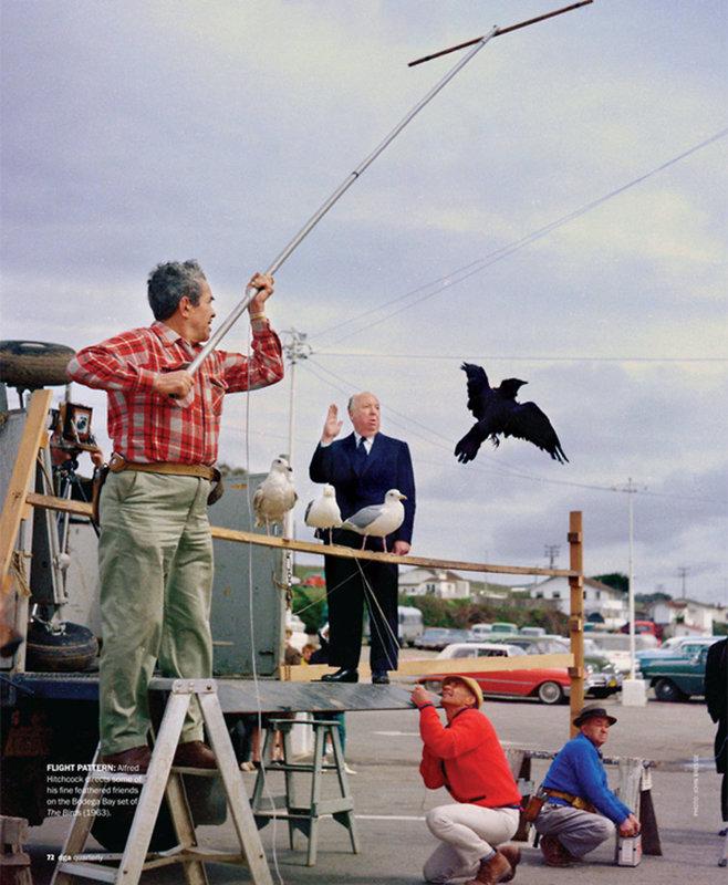 На съемках фильма «Птицы»