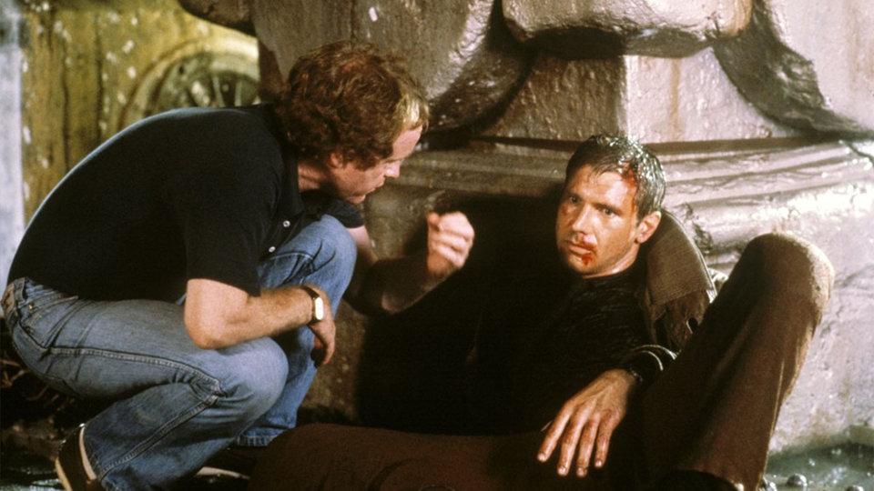 Ридли Скотт и Харрисон Форд на съемках фильма «Бегущий по лезвию»