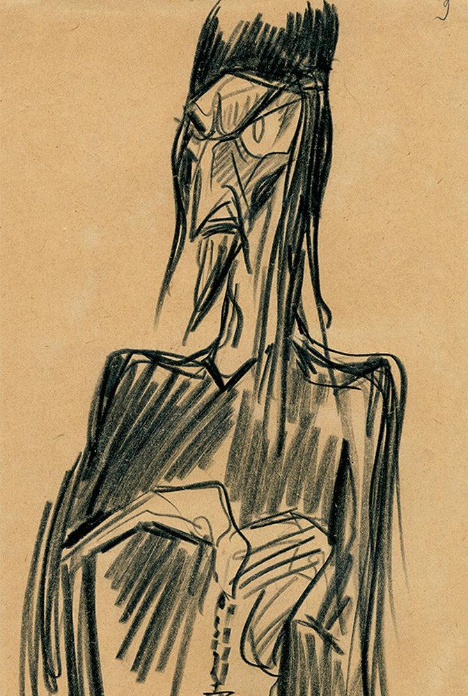 Рисунок Сергея Эйзенштейна «Царь. (Иван в монашеской ризе)» (1944) / РГАЛИ