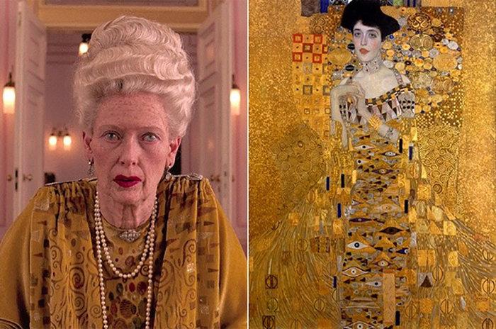 """Кадр из фильма «Отель """"Гранд Будапешт""""» и портрет Адели Блох-Бауэр I, написанный Густавом Климтом"""