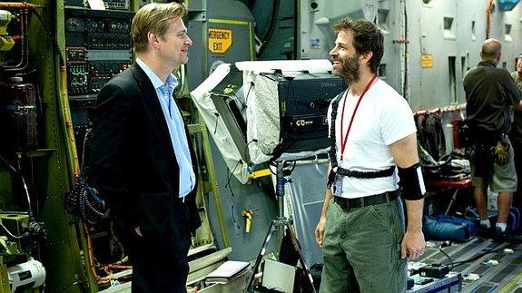 Кристофер Нолан и Зак Снайдер насъемках фильма «Человек из стали»