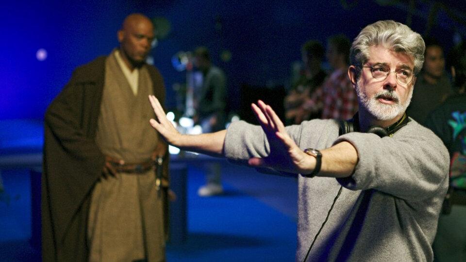 Джордж Лукас на съемках фильма «Звездные войны: Эпизод 3 — Месть Ситхов»