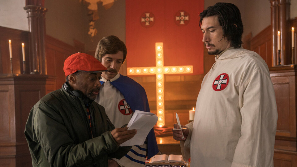 Спайк Ли и Адам Драйвер на съемках фильма «Черный клановец»