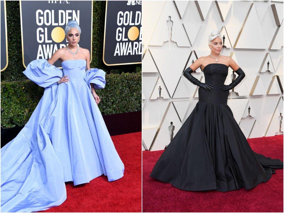 Леди Гага на «Золотом глобусе — 2019» и на «Оскаре-2019» / Фото: Getty Images, © A.M.P.A.S.