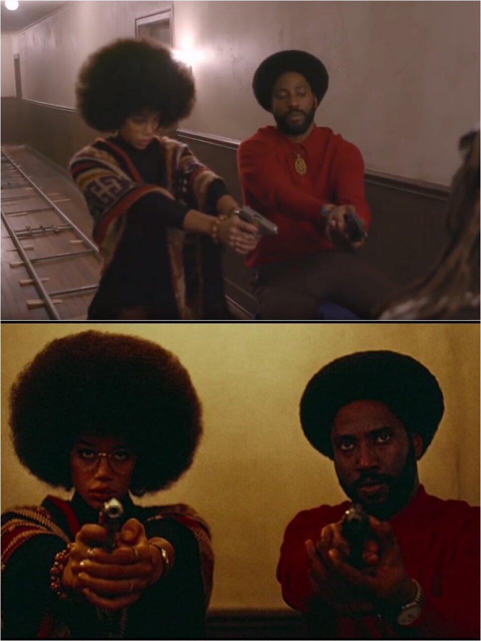 Одна и та же сцена «Черного клановца» — кадр со съемок и тот же самый кадр на просроченной пленке Kodak Ektachrome