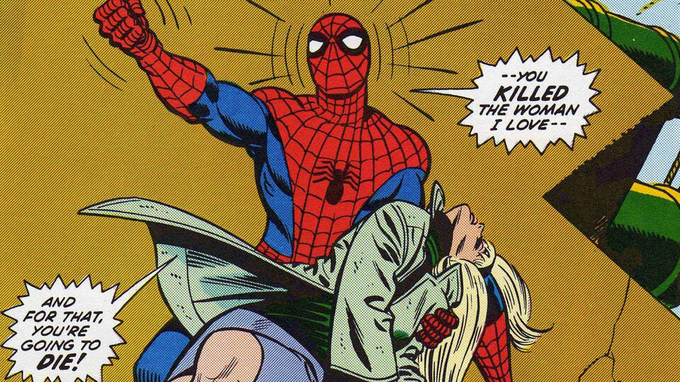 Фрагмент комикса «The Amazing Spider-Man #121—122» — «Ночь, когда умерла Гвен Стейси»
