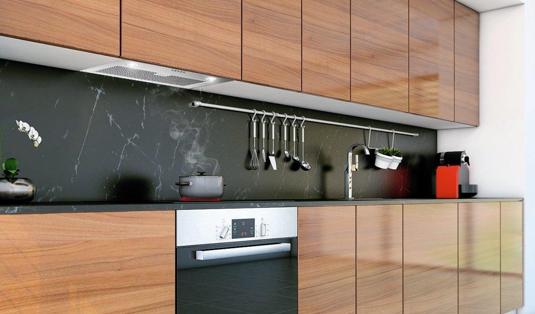 таких фото кухонь со встроенной вытяжкой начали