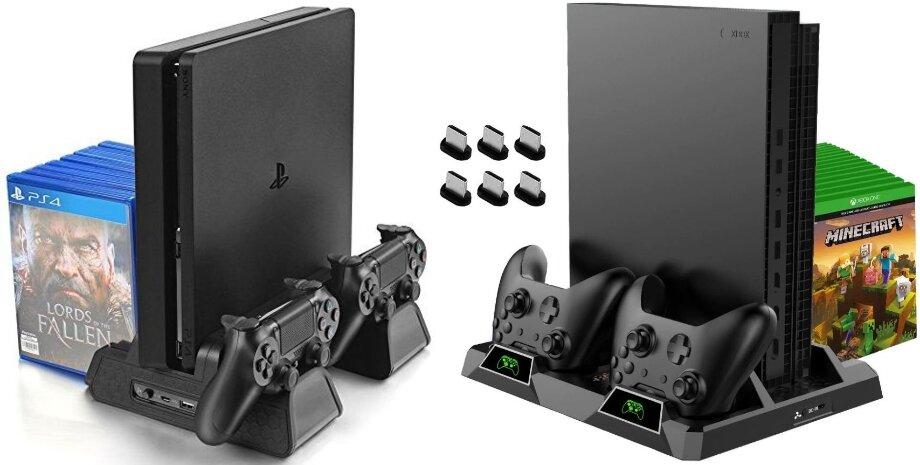 Наохлаждающей подставке можно одновременно разместить саму консоль идва геймпада. Это очень удобно: ниодин элемент приставки небудет валяться наполу возле дивана