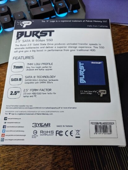 SSD диск PATRIOT Burst 480 Гб PBU480GS25SSDR SATA — мнение