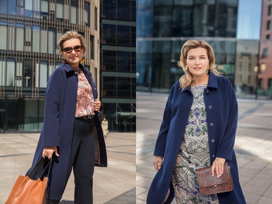 Пальто модного синего оттенка