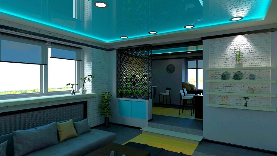 Можно комбинировать разные материалы для натяжного потолка, чтобы зонировать помещение