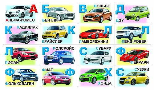 Азбука с картинками машин