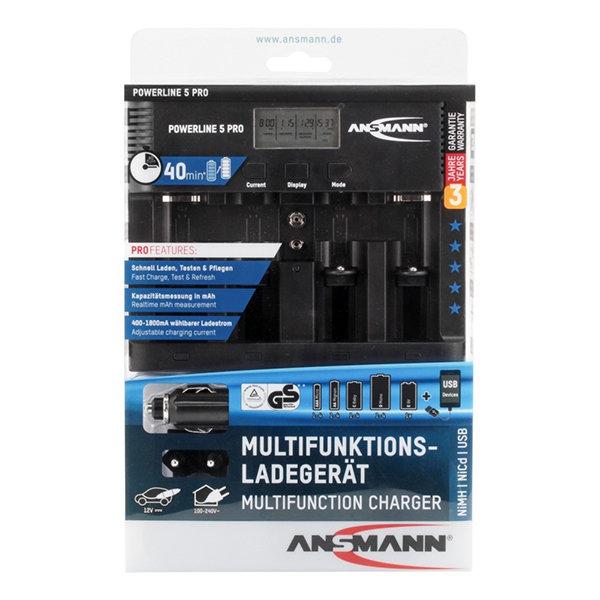 Зарядное устройство Ni-Mh, Ni-Cd Ansmann 1001-0018 Powerline 5 Pro для D, C, AA, AAA, Крона 9V, USB Ansmann 135-02