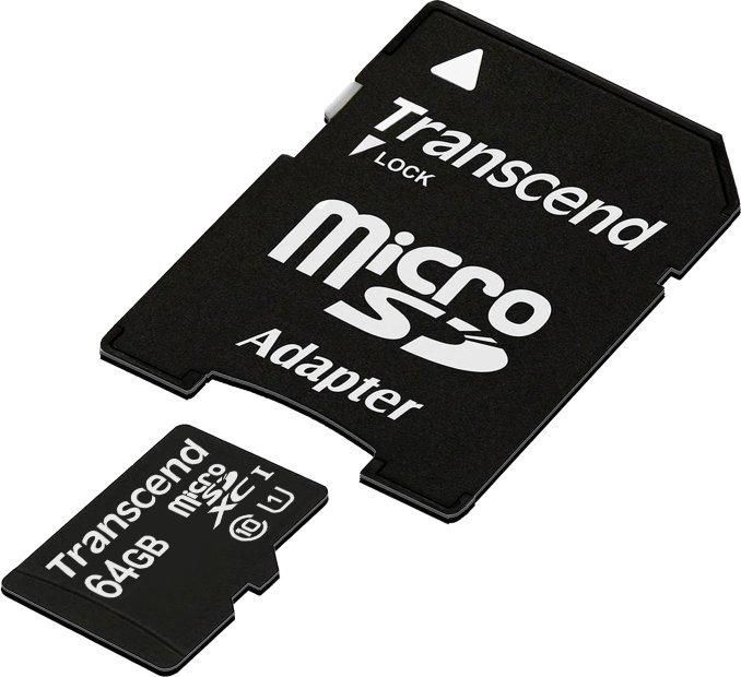 Карта памяти Transcend microSD 64Gb Class 10 UHS-1 + adapter