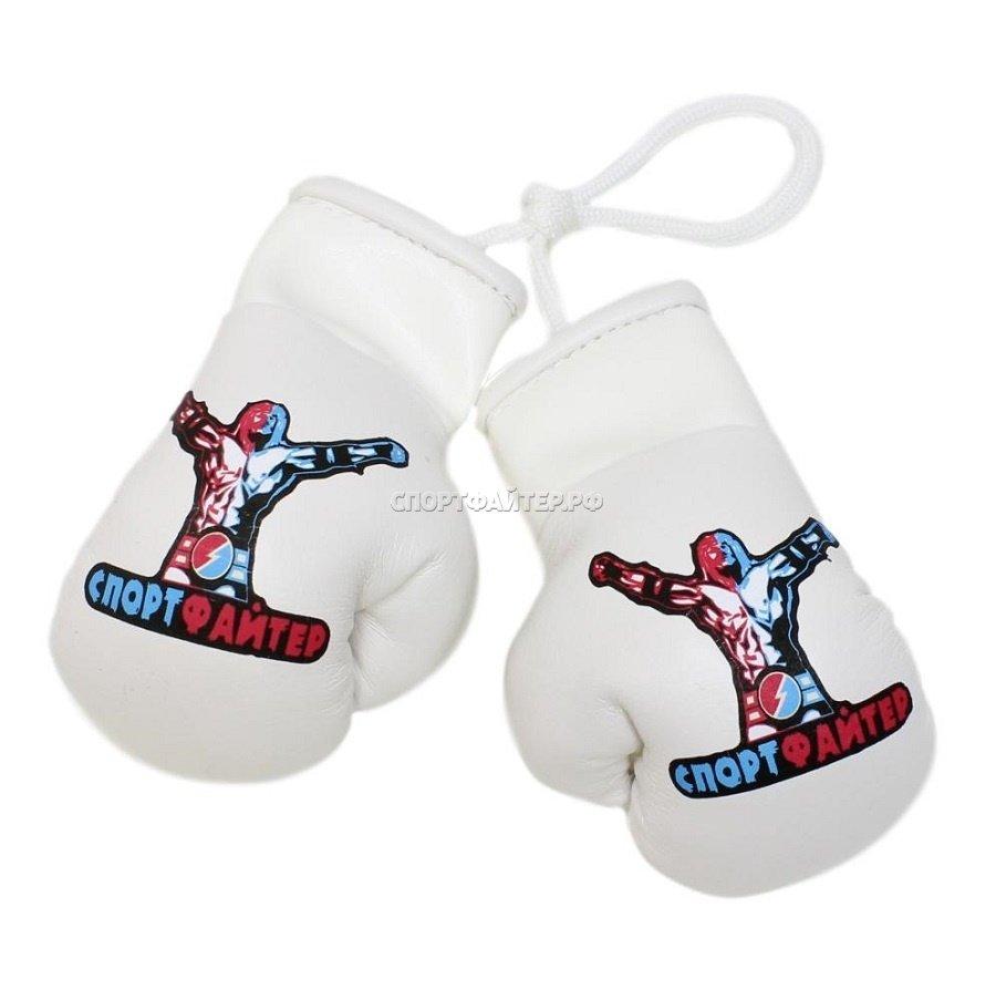 Боксерские перчатки на веревочке Спортфайтер - белый