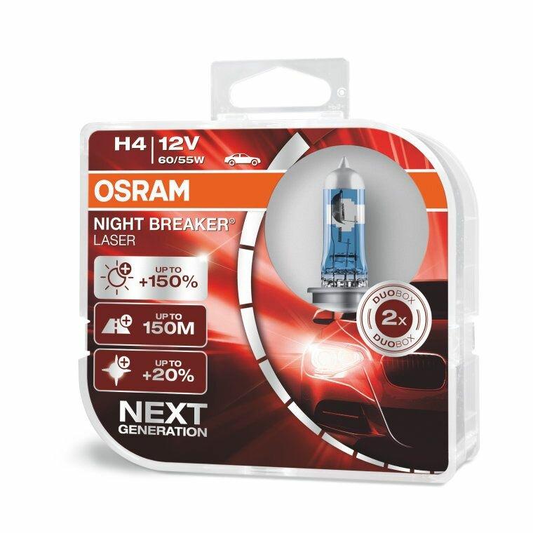 Лампа галогенная OSRAM H4 60/55W P43t+150% Night Braker Laser 4050K, 2шт, 12V, 64193NL2