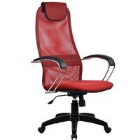 Кресло для персонала Метта BK-8 PL № 22 сетка, красная сетка хром.подлокотники со вставкой экокожи